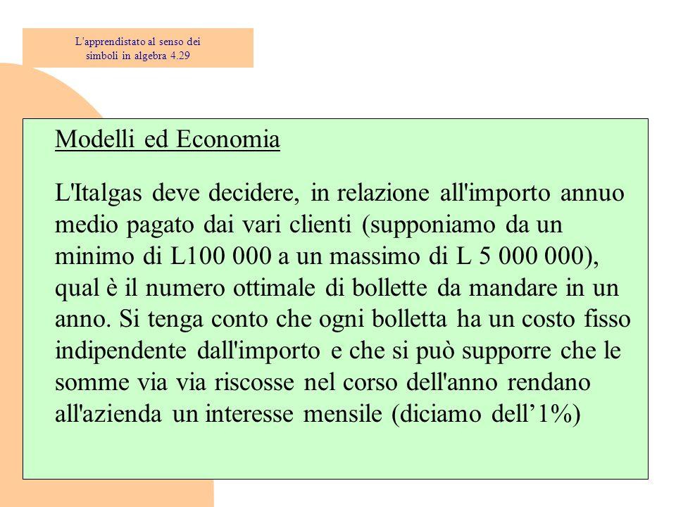 Modelli ed Economia L'Italgas deve decidere, in relazione all'importo annuo medio pagato dai vari clienti (supponiamo da un minimo di L100 000 a un ma