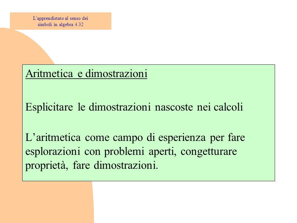 Aritmetica e dimostrazioni Esplicitare le dimostrazioni nascoste nei calcoli L'aritmetica come campo di esperienza per fare esplorazioni con problemi