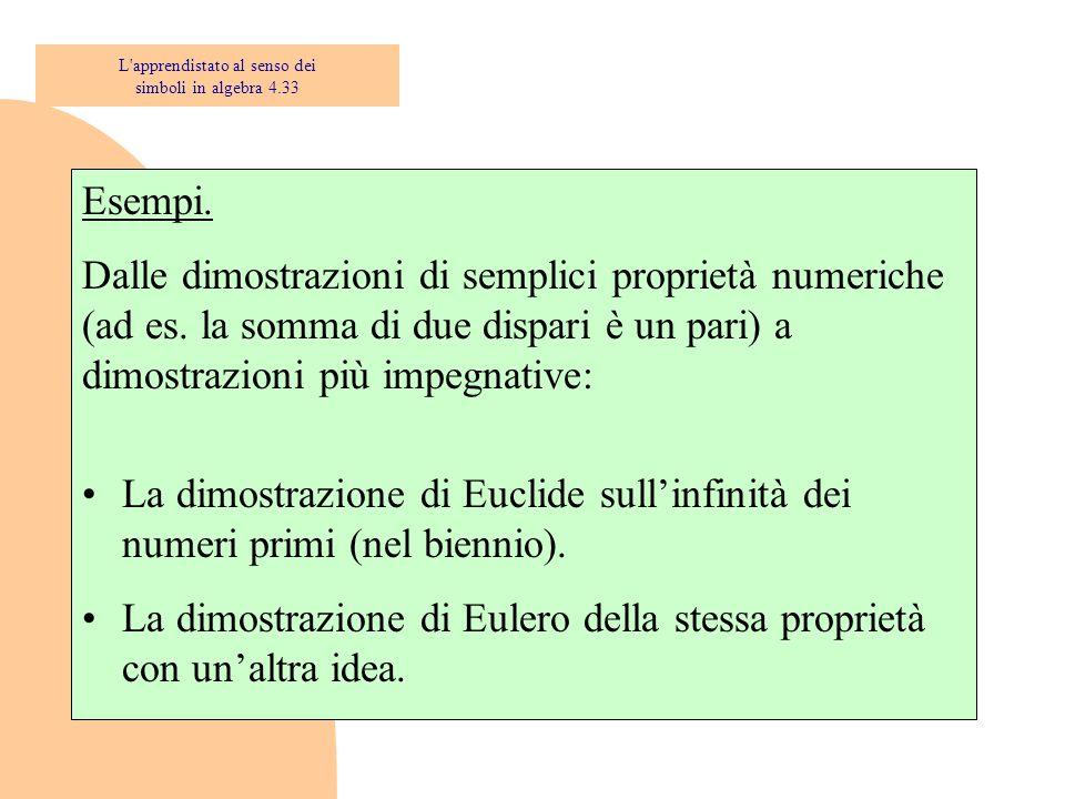 Esempi. Dalle dimostrazioni di semplici proprietà numeriche (ad es. la somma di due dispari è un pari) a dimostrazioni più impegnative: La dimostrazio