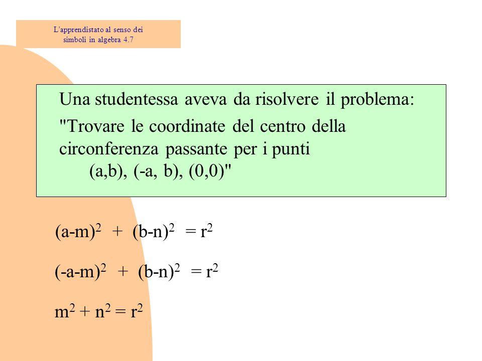 Una studentessa aveva da risolvere il problema: Trovare le coordinate del centro della circonferenza passante per i punti (b,a), (b, -a), (0,0) L apprendistato al senso dei simboli in algebra 4.7