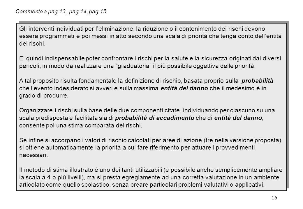 16 Commento a pag.13, pag.14, pag.15 Gli interventi individuati per l'eliminazione, la riduzione o il contenimento dei rischi devono essere programmat