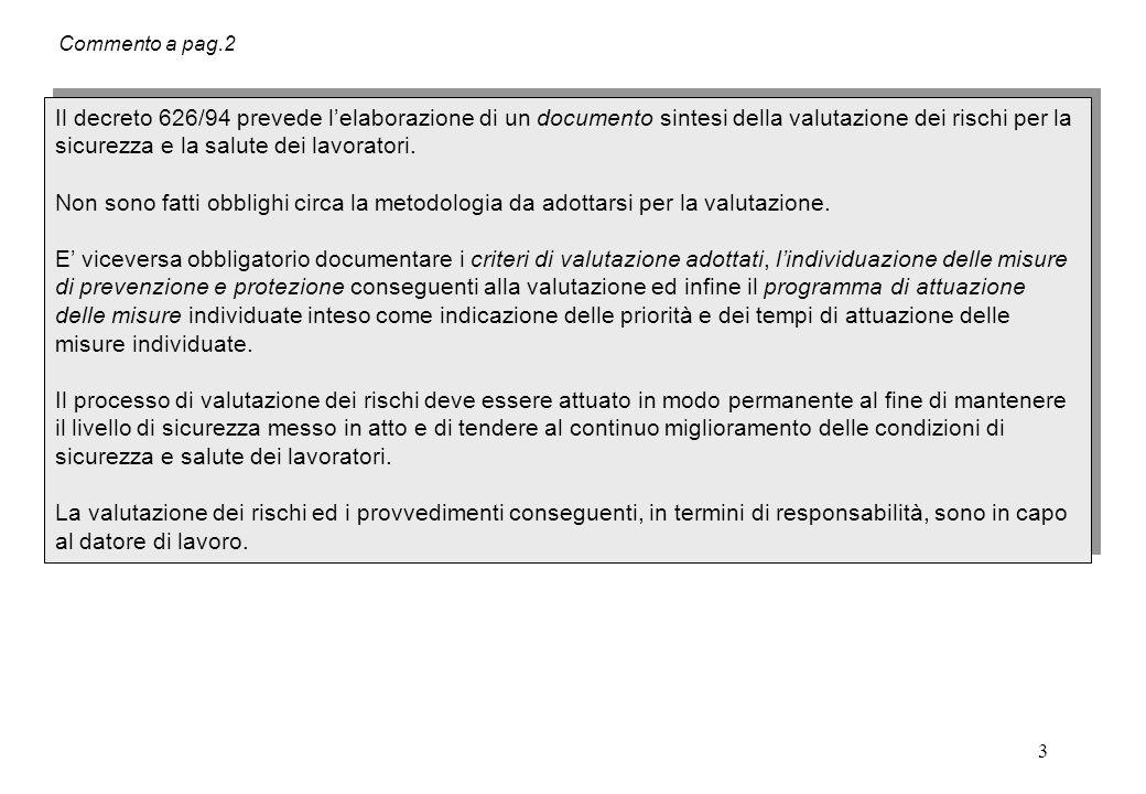 3 Commento a pag.2 Il decreto 626/94 prevede l'elaborazione di un documento sintesi della valutazione dei rischi per la sicurezza e la salute dei lavo