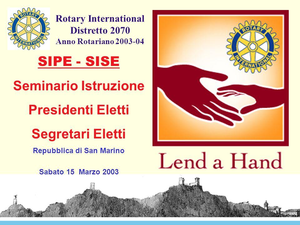 Rotary International Distretto 2070 Anno Rotariano 2003-04 SIPE - SISE Seminario Istruzione Presidenti Eletti Segretari Eletti Repubblica di San Marino Sabato 15 Marzo 2003