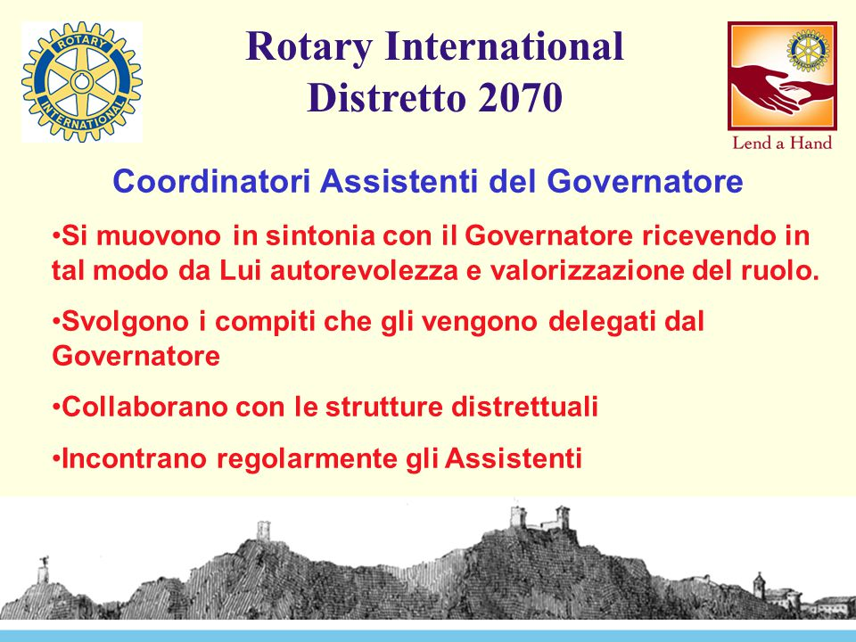 Rotary International Distretto 2070 Coordinatori Assistenti del Governatore Si muovono in sintonia con il Governatore ricevendo in tal modo da Lui aut