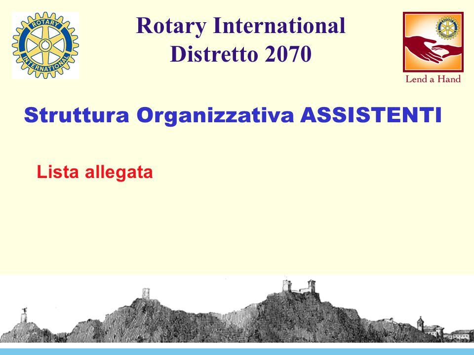 Struttura Organizzativa ASSISTENTI Rotary International Distretto 2070 Lista allegata