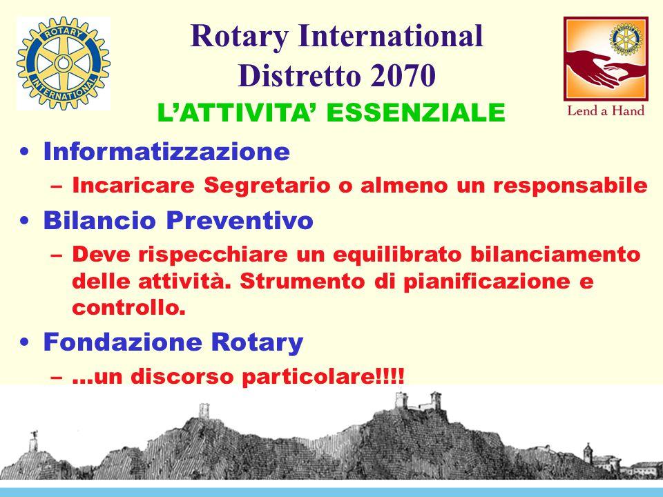 Rotary International Distretto 2070 Informatizzazione –Incaricare Segretario o almeno un responsabile Bilancio Preventivo –Deve rispecchiare un equilibrato bilanciamento delle attività.