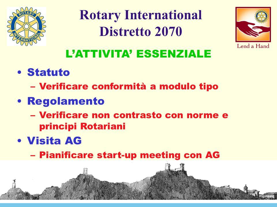 Rotary International Distretto 2070 Statuto –Verificare conformità a modulo tipo Regolamento –Verificare non contrasto con norme e principi Rotariani Visita AG –Pianificare start-up meeting con AG L'ATTIVITA' ESSENZIALE