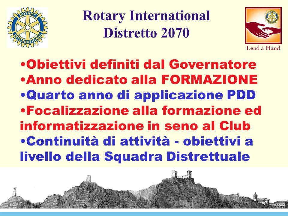 Rotary International Distretto 2070 Obiettivi definiti dal Governatore Anno dedicato alla FORMAZIONE Quarto anno di applicazione PDD Focalizzazione alla formazione ed informatizzazione in seno al Club Continuità di attività - obiettivi a livello della Squadra Distrettuale