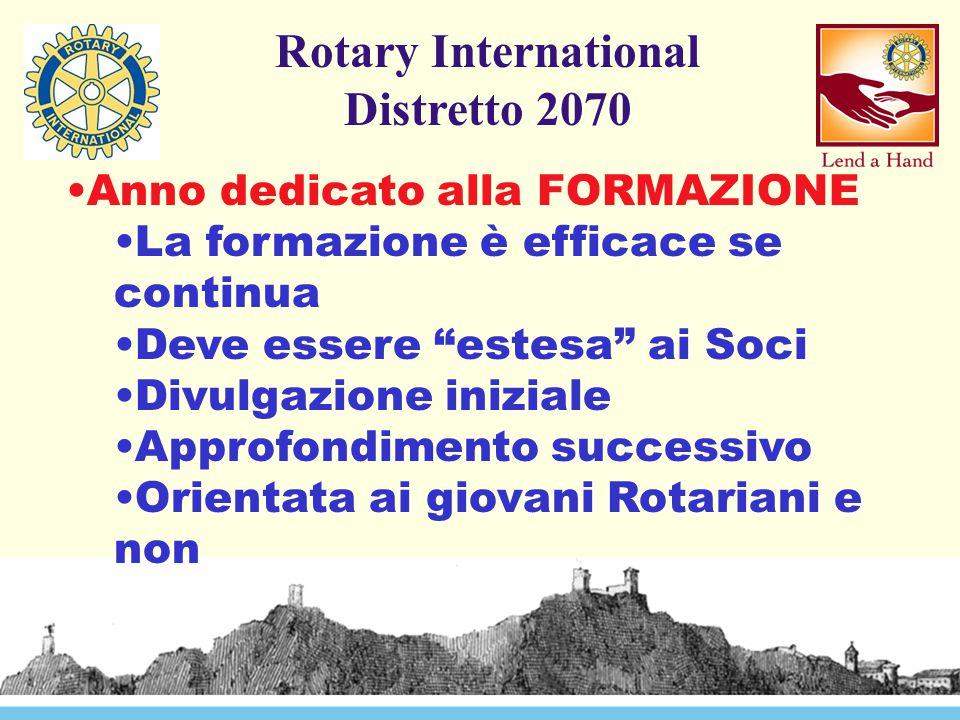 Rotary International Distretto 2070 Anno dedicato alla FORMAZIONE La formazione è efficace se continua Deve essere estesa ai Soci Divulgazione iniziale Approfondimento successivo Orientata ai giovani Rotariani e non