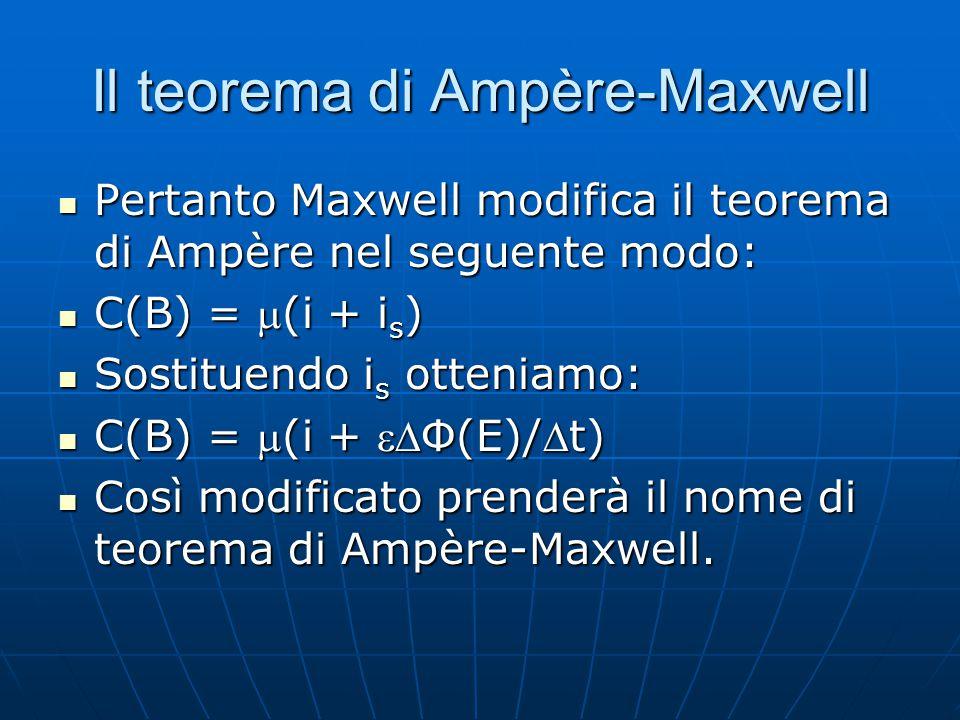 Il teorema di Ampère-Maxwell Pertanto Maxwell modifica il teorema di Ampère nel seguente modo: Pertanto Maxwell modifica il teorema di Ampère nel segu