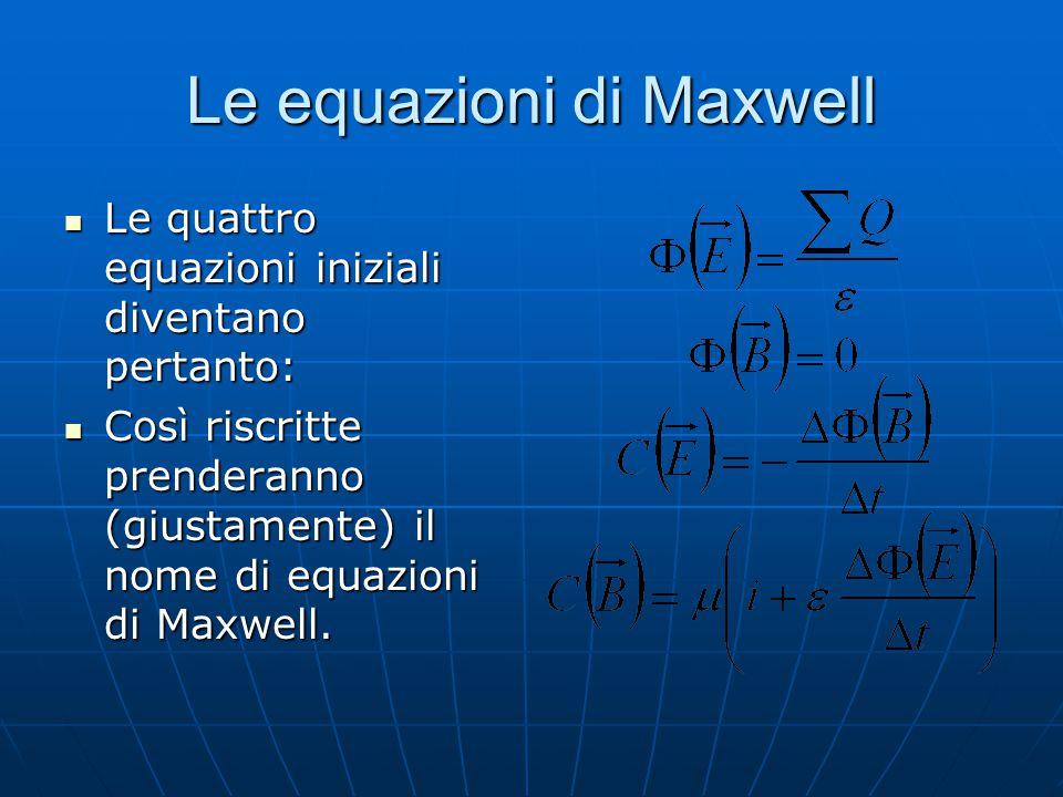 Le equazioni di Maxwell Le quattro equazioni iniziali diventano pertanto: Le quattro equazioni iniziali diventano pertanto: Così riscritte prenderanno