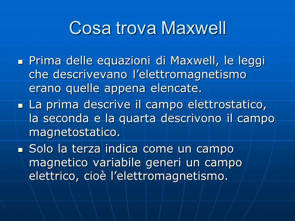 Cosa trova Maxwell Prima delle equazioni di Maxwell, le leggi che descrivevano l'elettromagnetismo erano quelle appena elencate. Prima delle equazioni