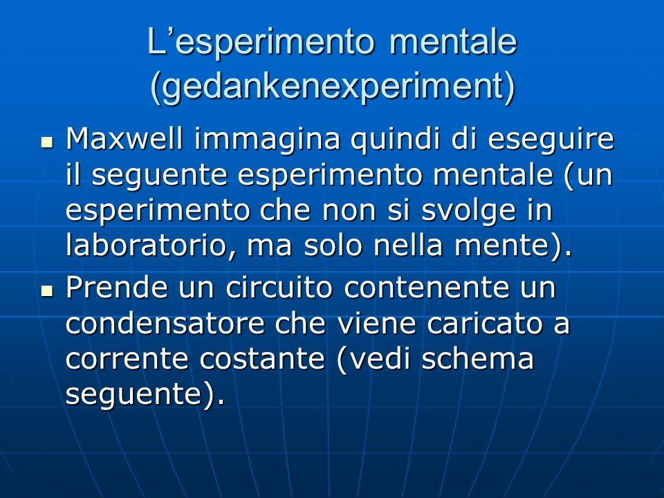 L'esperimento mentale (gedankenexperiment) Maxwell immagina quindi di eseguire il seguente esperimento mentale (un esperimento che non si svolge in la