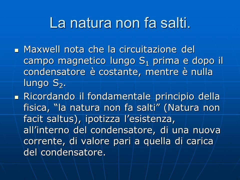 La natura non fa salti. Maxwell nota che la circuitazione del campo magnetico lungo S 1 prima e dopo il condensatore è costante, mentre è nulla lungo