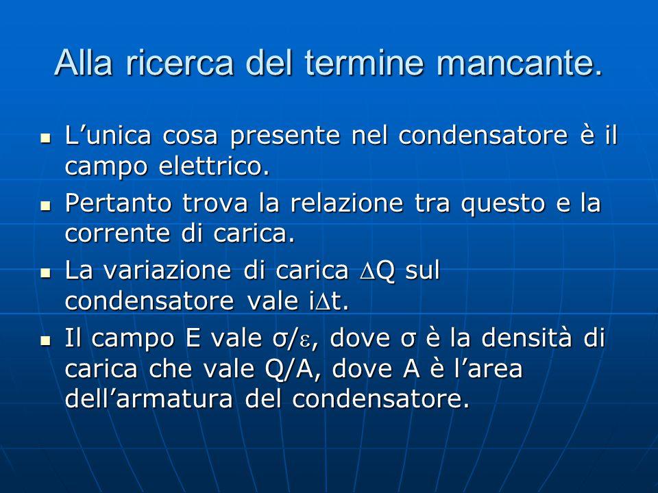 Alla ricerca del termine mancante. L'unica cosa presente nel condensatore è il campo elettrico. L'unica cosa presente nel condensatore è il campo elet