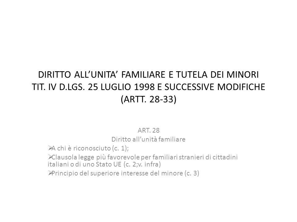 DIRITTO ALL'UNITA' FAMILIARE E TUTELA DEI MINORI TIT. IV D.LGS. 25 LUGLIO 1998 E SUCCESSIVE MODIFICHE (ARTT. 28-33) ART. 28 Diritto all'unità familiar
