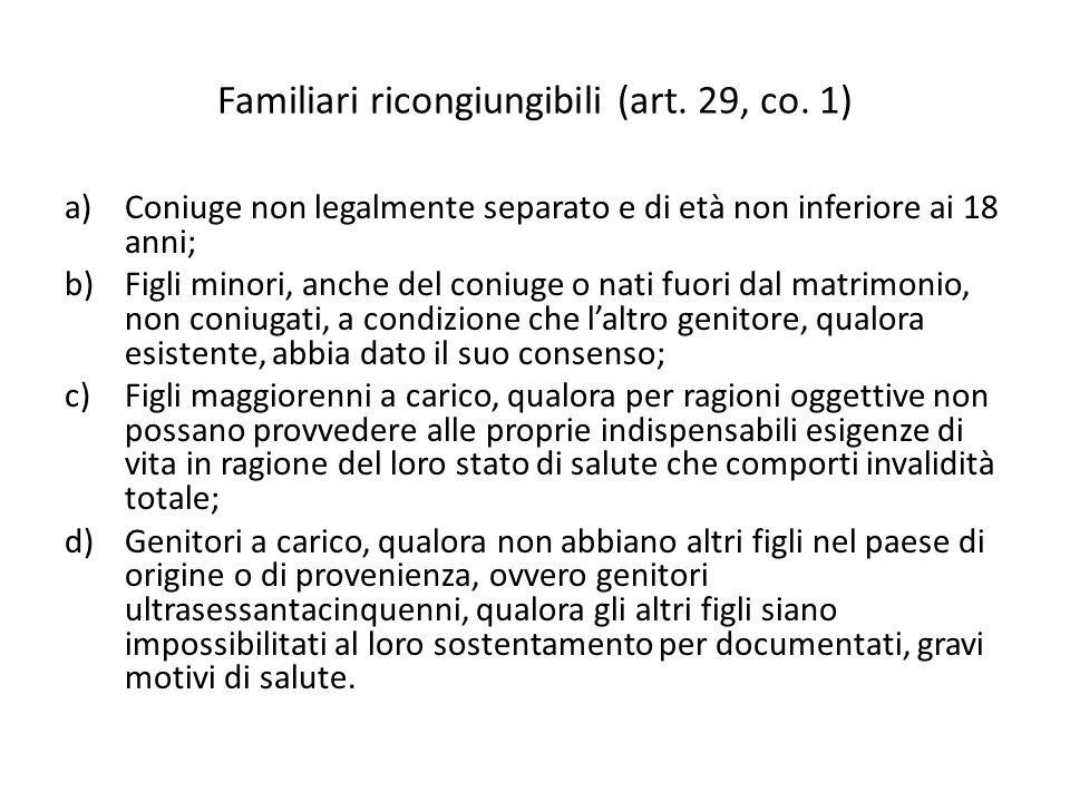 Familiari ricongiungibili (art. 29, co. 1) a)Coniuge non legalmente separato e di età non inferiore ai 18 anni; b)Figli minori, anche del coniuge o na