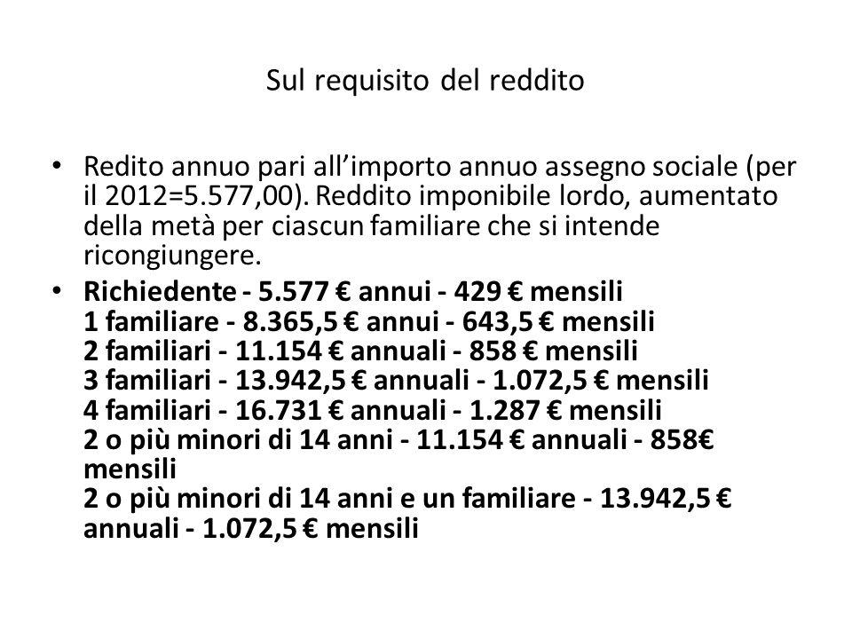 Sul requisito del reddito Redito annuo pari all'importo annuo assegno sociale (per il 2012=5.577,00). Reddito imponibile lordo, aumentato della metà p