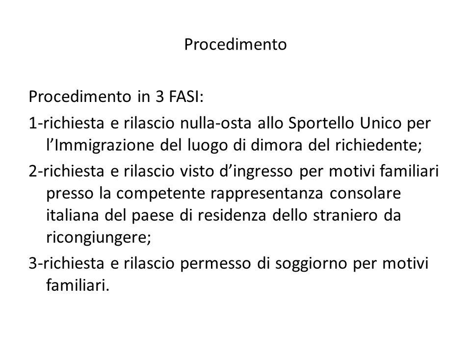 Procedimento Procedimento in 3 FASI: 1-richiesta e rilascio nulla-osta allo Sportello Unico per l'Immigrazione del luogo di dimora del richiedente; 2-