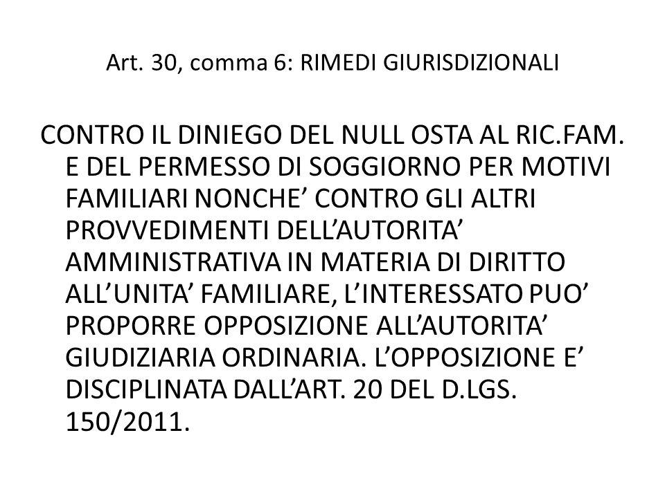 Art.30, comma 6: RIMEDI GIURISDIZIONALI CONTRO IL DINIEGO DEL NULL OSTA AL RIC.FAM.