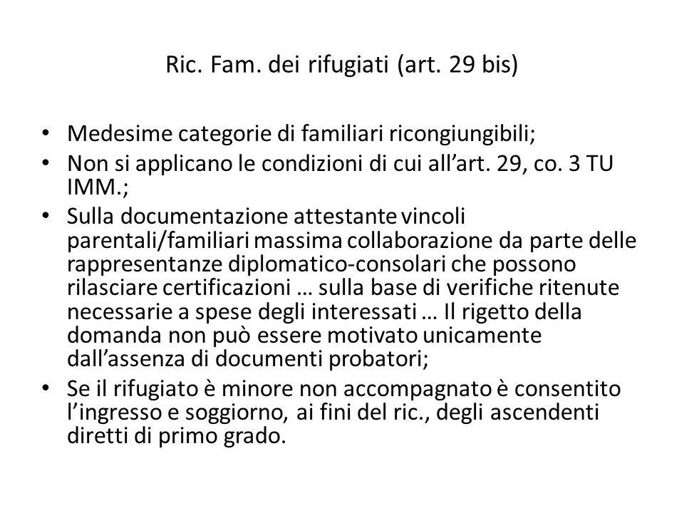 Ric. Fam. dei rifugiati (art. 29 bis) Medesime categorie di familiari ricongiungibili; Non si applicano le condizioni di cui all'art. 29, co. 3 TU IMM