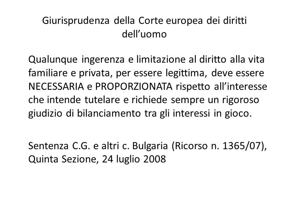 Giurisprudenza della Corte europea dei diritti dell'uomo Qualunque ingerenza e limitazione al diritto alla vita familiare e privata, per essere legitt