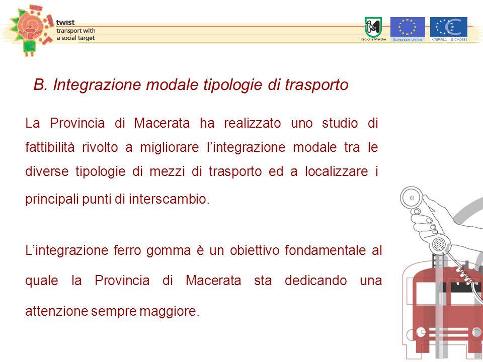 La Provincia di Macerata ha realizzato uno studio di fattibilità rivolto a migliorare l'integrazione modale tra le diverse tipologie di mezzi di trasporto ed a localizzare i principali punti di interscambio.