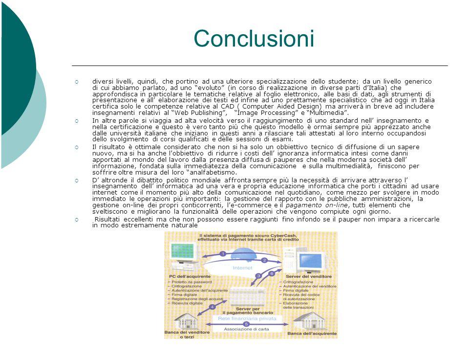 Conclusioni  diversi livelli, quindi, che portino ad una ulteriore specializzazione dello studente; da un livello generico di cui abbiamo parlato, ad uno evoluto (in corso di realizzazione in diverse parti d'Italia) che approfondisca in particolare le tematiche relative al foglio elettronico, alle basi di dati, agli strumenti di presentazione e all' elaborazione dei testi ed infine ad uno prettamente specialistico che ad oggi in Italia certifica solo le competenze relative al CAD ( Computer Aided Design) ma arriverà in breve ad includere insegnamenti relativi al Web Publishing , Image Processing e Multimedia .
