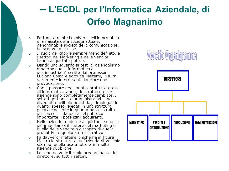 – L'ECDL per l'Informatica Aziendale, di Orfeo Magnanimo  Fortunatamente l'evolversi dell'informatica e la nascita della società attuale, denominabile società della comunicazione, ha sconvolto le cose.
