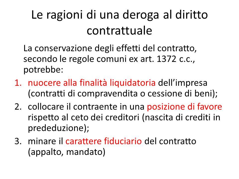 Le ragioni di una deroga al diritto contrattuale La conservazione degli effetti del contratto, secondo le regole comuni ex art. 1372 c.c., potrebbe: 1