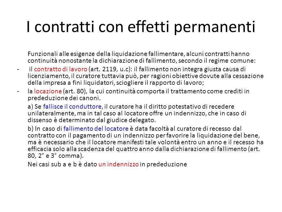 I contratti con effetti permanenti Funzionali alle esigenze della liquidazione fallimentare, alcuni contratti hanno continuità nonostante la dichiaraz
