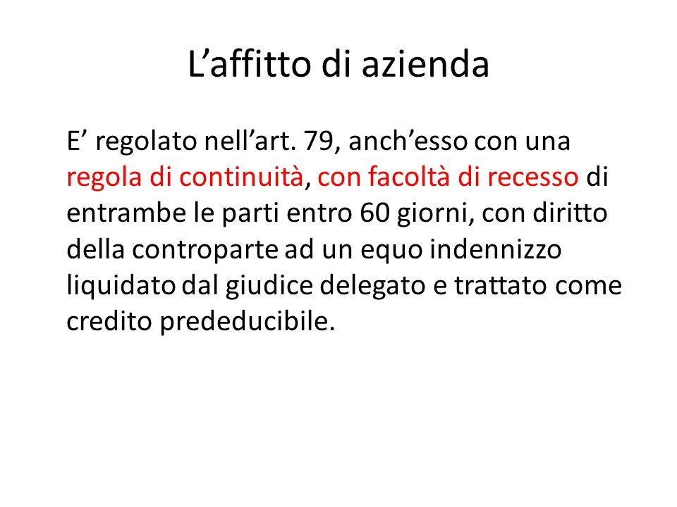 L'affitto di azienda E' regolato nell'art. 79, anch'esso con una regola di continuità, con facoltà di recesso di entrambe le parti entro 60 giorni, co