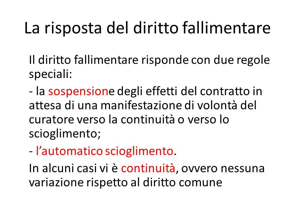 La risposta del diritto fallimentare Il diritto fallimentare risponde con due regole speciali: - la sospensione degli effetti del contratto in attesa