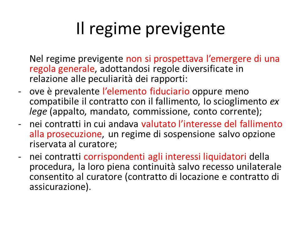 Il regime previgente Nel regime previgente non si prospettava l'emergere di una regola generale, adottandosi regole diversificate in relazione alle pe