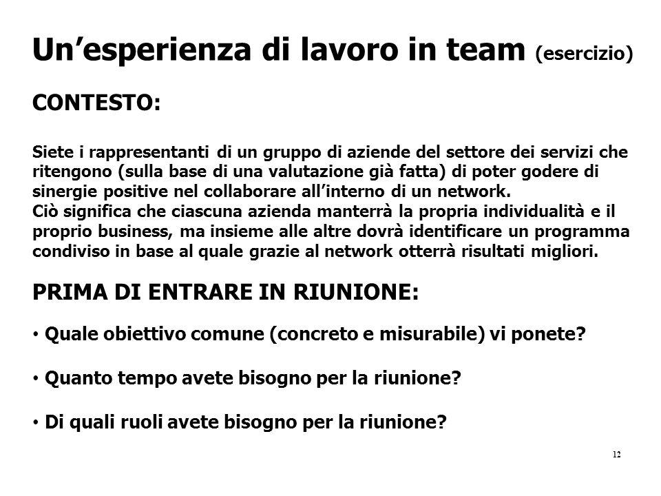 12 Un'esperienza di lavoro in team (esercizio) CONTESTO: Siete i rappresentanti di un gruppo di aziende del settore dei servizi che ritengono (sulla b