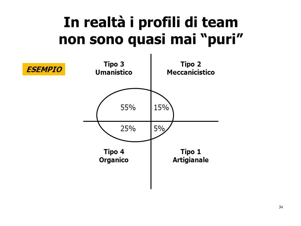 """34 In realtà i profili di team non sono quasi mai """"puri"""" Tipo 1 Artigianale Tipo 2 Meccanicistico Tipo 3 Umanistico Tipo 4 Organico 55%15% 5%25% ESEMP"""