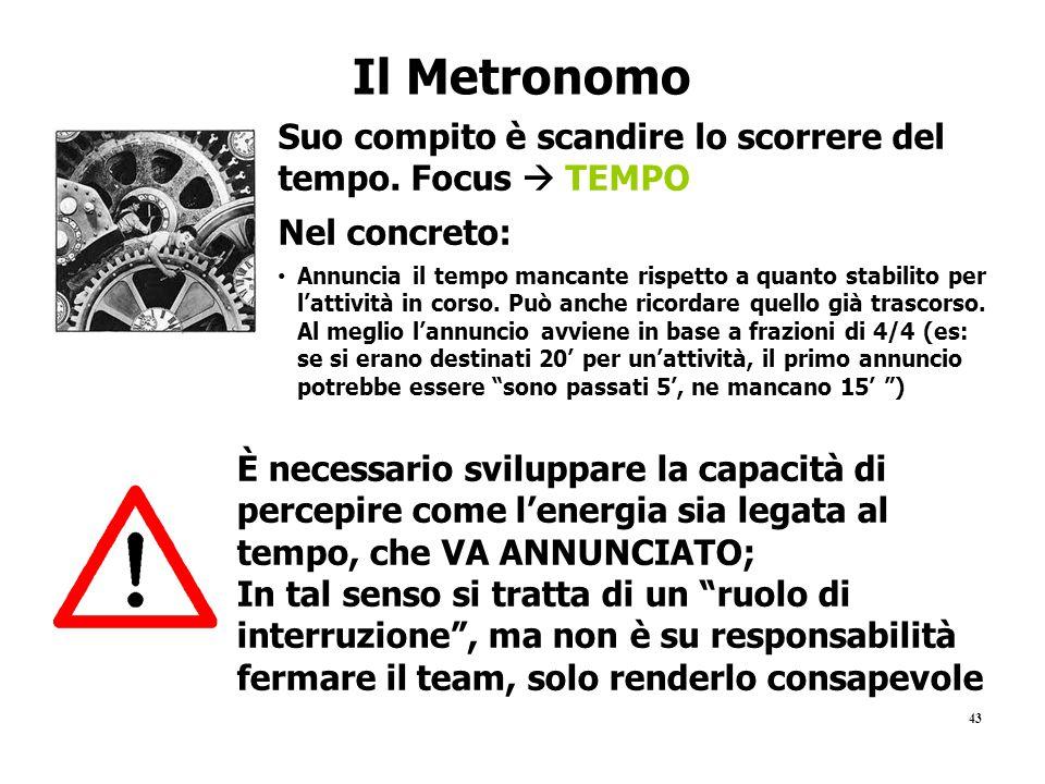 43 Il Metronomo Suo compito è scandire lo scorrere del tempo. Focus  TEMPO Nel concreto: Annuncia il tempo mancante rispetto a quanto stabilito per l
