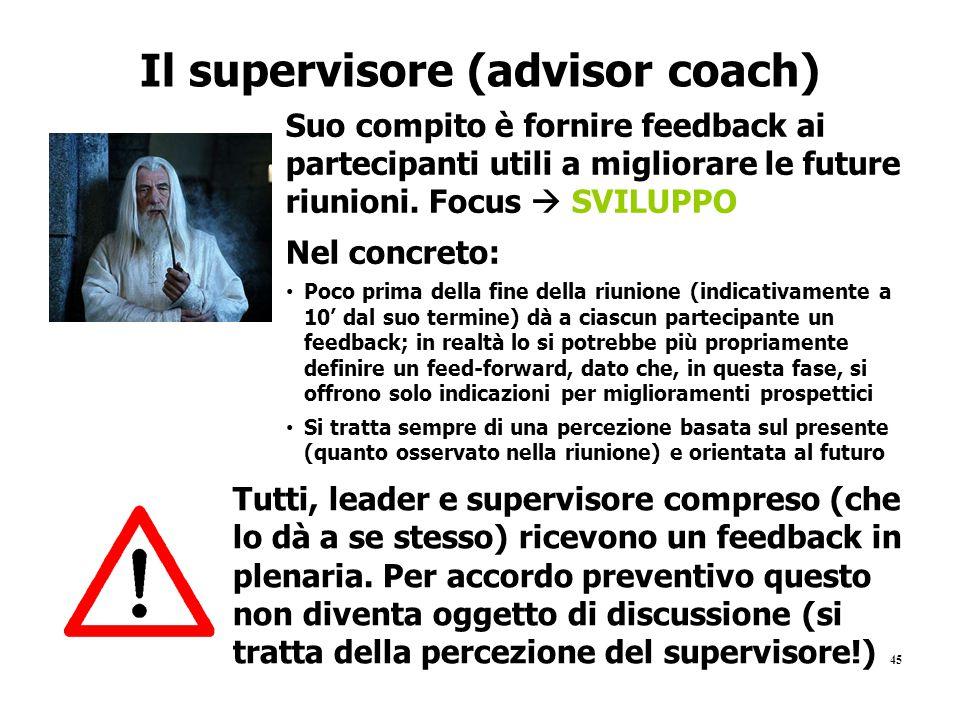 45 Il supervisore (advisor coach) Suo compito è fornire feedback ai partecipanti utili a migliorare le future riunioni. Focus  SVILUPPO Nel concreto:
