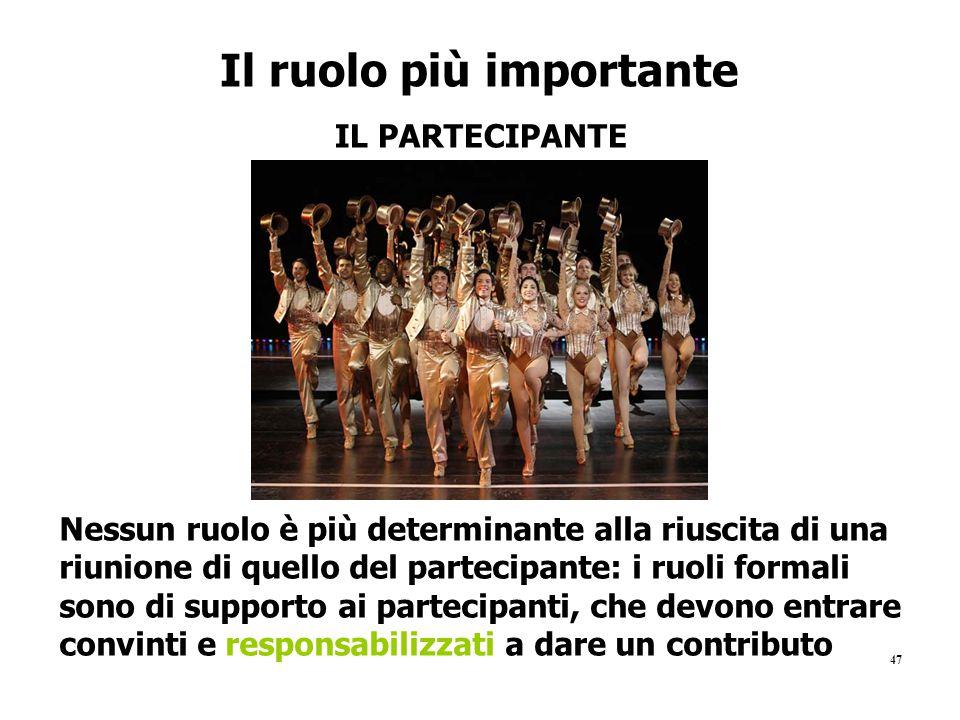 47 Il ruolo più importante IL PARTECIPANTE Nessun ruolo è più determinante alla riuscita di una riunione di quello del partecipante: i ruoli formali s