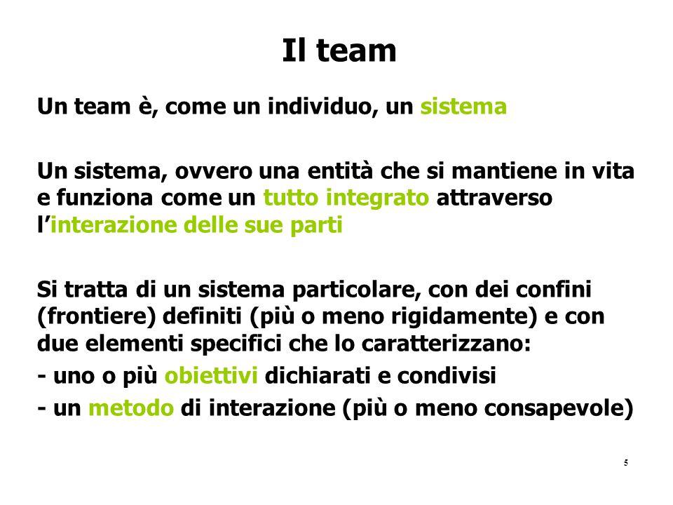5 Il team Un team è, come un individuo, un sistema Un sistema, ovvero una entità che si mantiene in vita e funziona come un tutto integrato attraverso