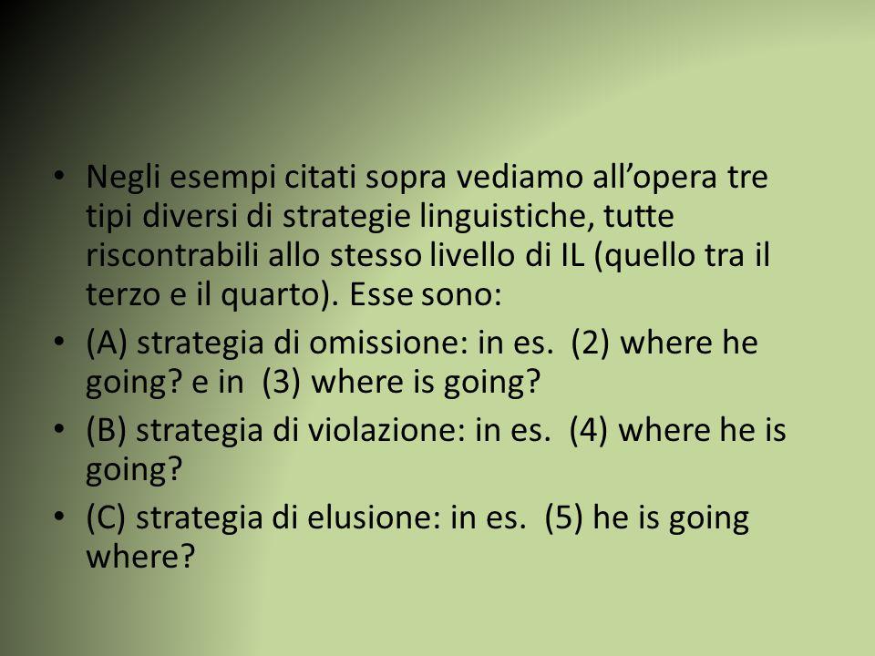 Negli esempi citati sopra vediamo all'opera tre tipi diversi di strategie linguistiche, tutte riscontrabili allo stesso livello di IL (quello tra il terzo e il quarto).