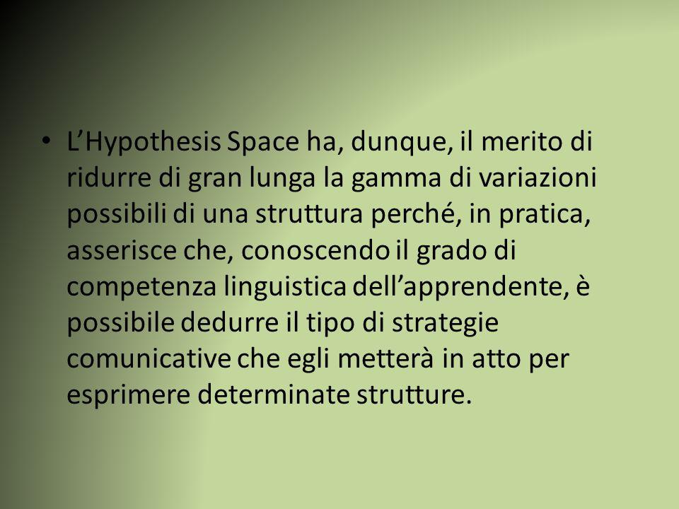 L'Hypothesis Space ha, dunque, il merito di ridurre di gran lunga la gamma di variazioni possibili di una struttura perché, in pratica, asserisce che,