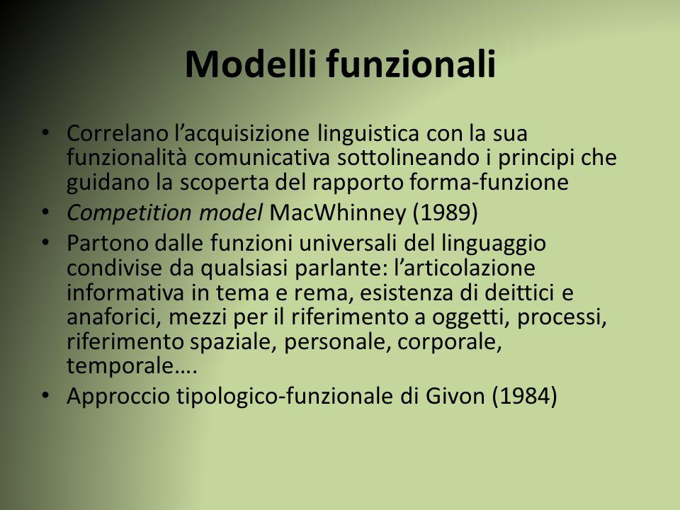 Modelli funzionali Correlano l'acquisizione linguistica con la sua funzionalità comunicativa sottolineando i principi che guidano la scoperta del rapp
