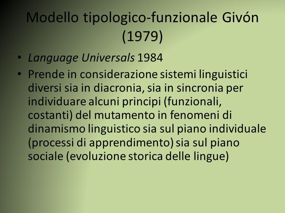Modello tipologico-funzionale Givón (1979) Language Universals 1984 Prende in considerazione sistemi linguistici diversi sia in diacronia, sia in sinc