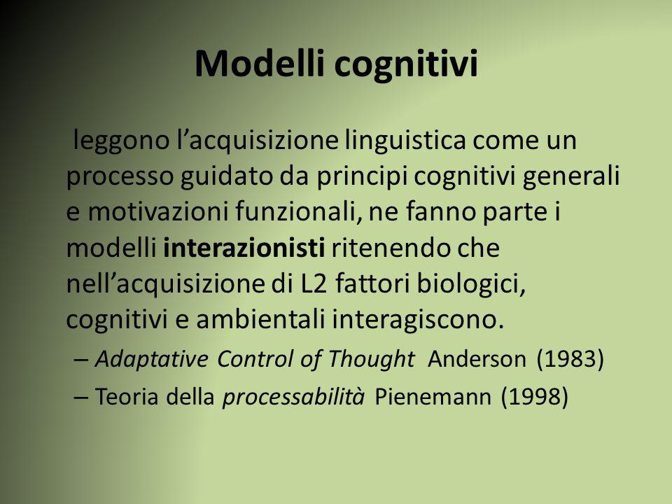 Modelli cognitivi leggono l'acquisizione linguistica come un processo guidato da principi cognitivi generali e motivazioni funzionali, ne fanno parte