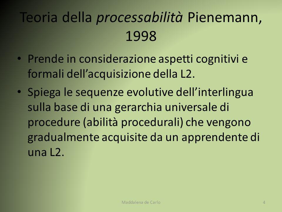 Prende in considerazione aspetti cognitivi e formali dell'acquisizione della L2. Spiega le sequenze evolutive dell'interlingua sulla base di una gerar