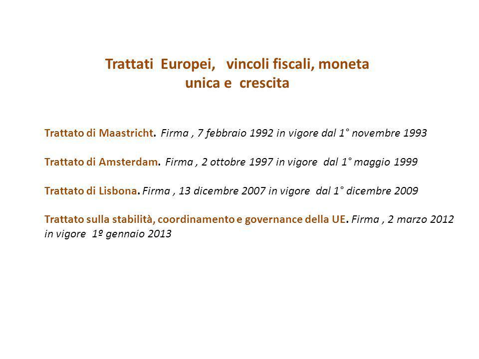 Trattati Europei, vincoli fiscali, moneta unica e crescita Trattato di Maastricht. Firma, 7 febbraio 1992 in vigore dal 1° novembre 1993 Trattato di A
