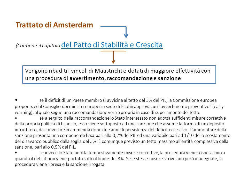 Trattato di Amsterdam (Contiene il capitolo del Patto di Stabilità e Crescita Vengono ribaditi i vincoli di Maastricht e dotati di maggiore effettivit