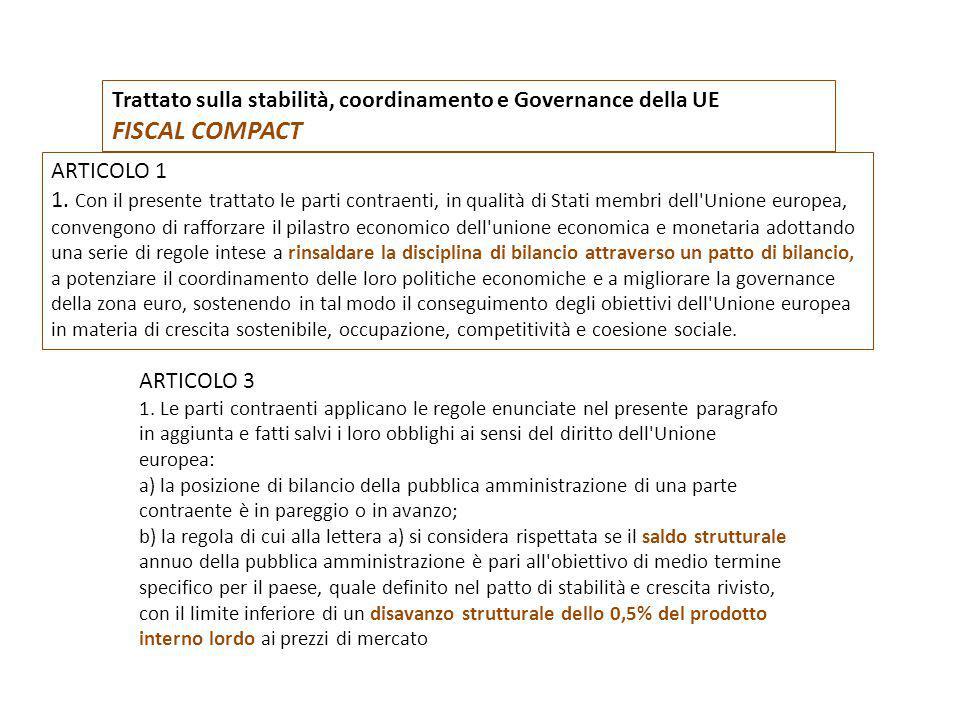 Trattato sulla stabilità, coordinamento e Governance della UE FISCAL COMPACT ARTICOLO 1 1. Con il presente trattato le parti contraenti, in qualità di