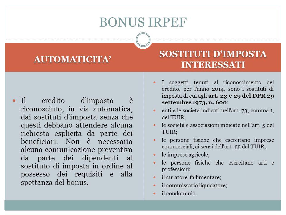 AUTOMATICITA' SOSTITUTI D'IMPOSTA INTERESSATI Il credito d'imposta è riconosciuto, in via automatica, dai sostituti d'imposta senza che questi debbano